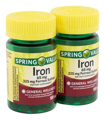 spring valley hierro 65 mg de 100 capsulas / super precio.-