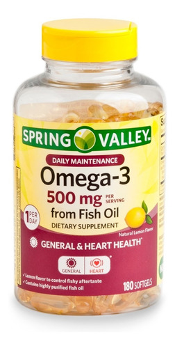 spring valley omega 3 500 mg de 180 capsulas / super precio.