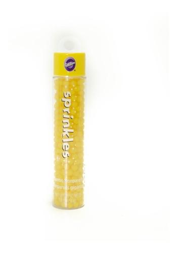 sprinkles jumbo perlas nonpareil amarillo navidad wilton