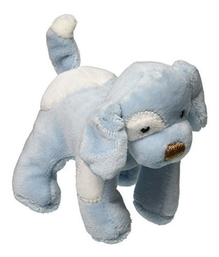 spunky puppy baby rattle blue