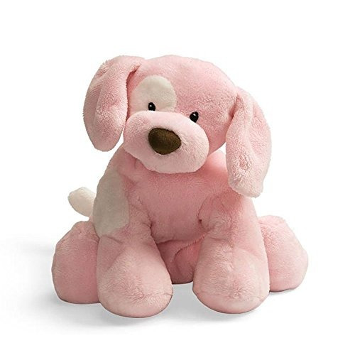 spunky puppy baby rattle  rosa