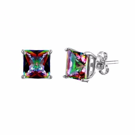 square abd cz basket set studs-6mm