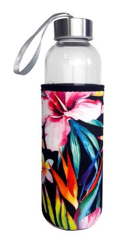 squeeze de vidro e aço inox c/ capa proteção floral