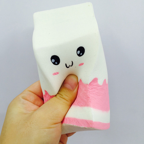 squishy soft charms pink milk box botella stress relief slow