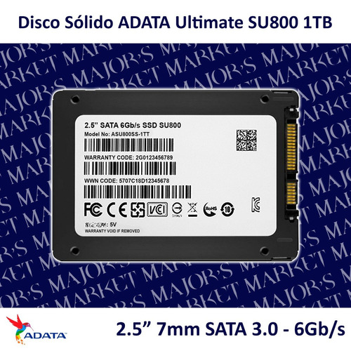 ssd 2.5'' 7mm adata ultimate su800 1tb sata 3.0 - 6gb/s
