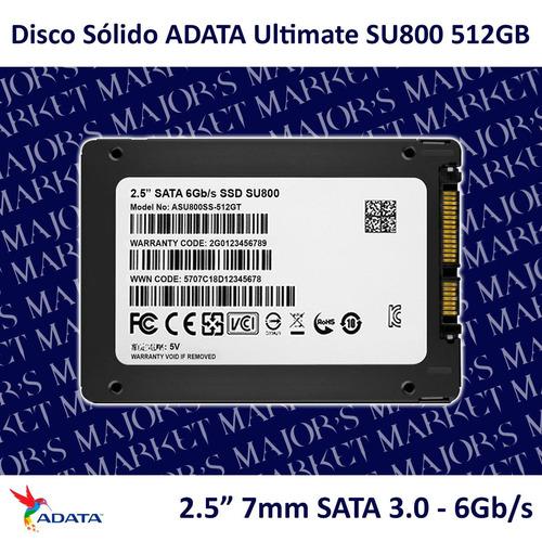 ssd 2.5'' 7mm adata ultimate su800 512gb sata 3.0 - 6gb/s