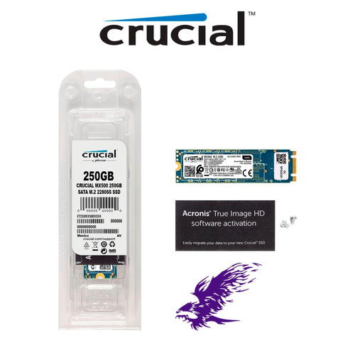ssd crucial mx500 250gb m.2 2280 sata 3.0 - 6gb/s