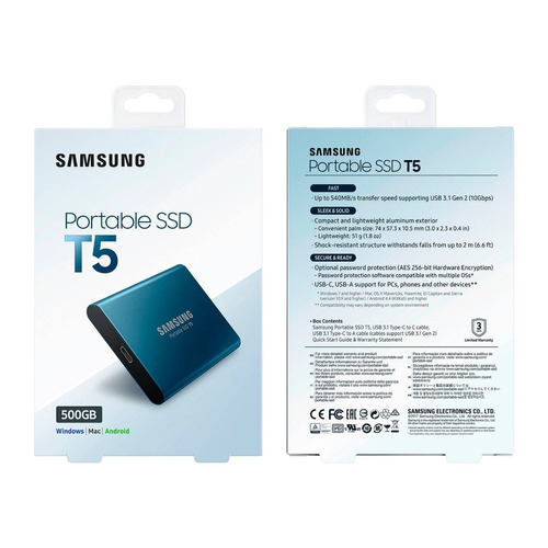 ssd externo samsung portable t5 500gb 1.8'' usb 3.1 - 10gb/s