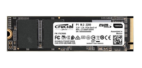 ssd m.2 1tb crucial  nvme pcle  2280   2000mb/s-1700mb/s