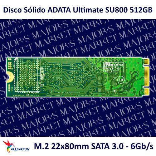 ssd m.2 22x80mm adata ultimate su800 512gb sata 3.0 - 6gb/s