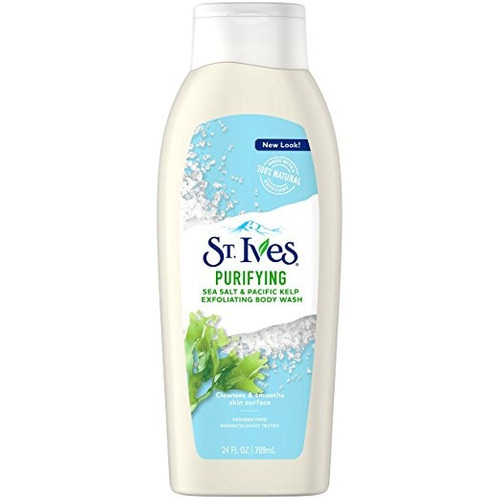 st. ives purificación body wash, sal marina y algas marinas,