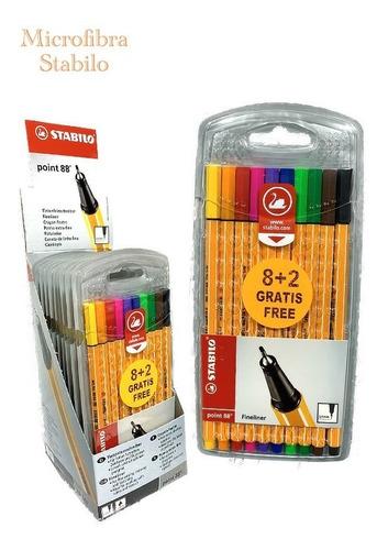 stabilo 16095 marcadores fibra point 88 x8 + 2 gratis
