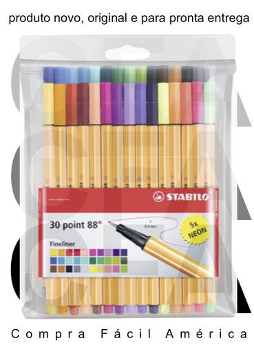 stabilo point 88 kit 30x canetas fineliner cores diferentes