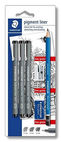 staedtler cj 6 caneta nankin pigment + lapis borracha aponta