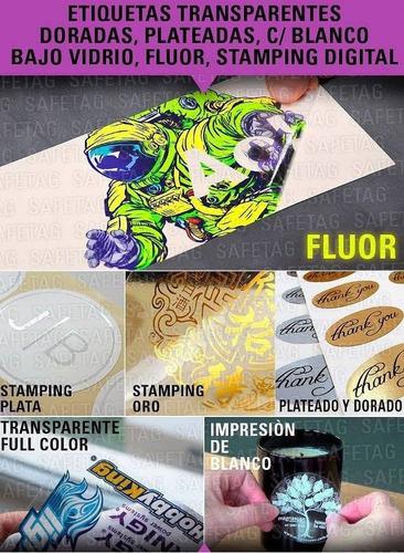 stamping etiquetas autoadhesivas doradas plateadas blanco fluo transparente troquelados especiales formas resistentes et
