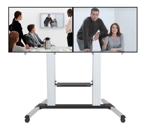 stand pie ruedas video wall 2 tv led lcd 32 a 60