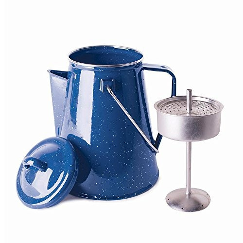 stansport enamel 8 cup percolator coffee pot with basket