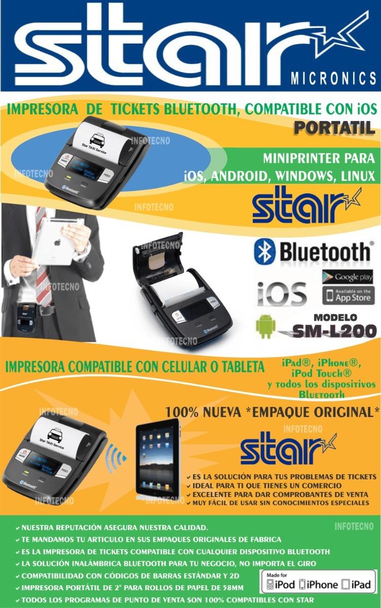 Star Sm L200 Impresora Portatil Bluetooth Izettle Ios