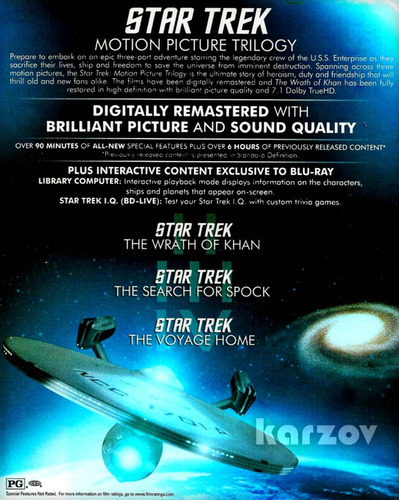star trek motion picture trilogy importacion cine blu-ray