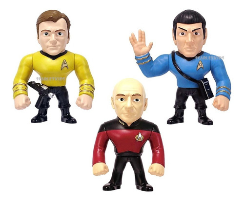 star trek spock kirk picard combo figura 4 pulg diecast jada
