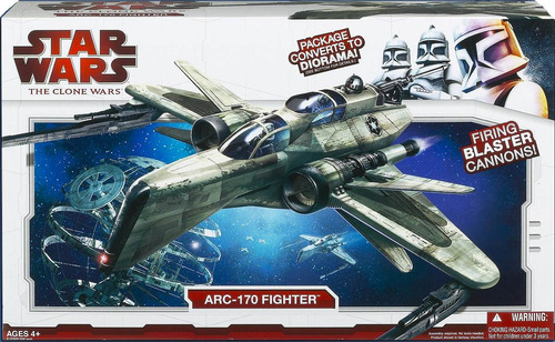 star wars - arc-170 fighter - nave the clone wars - hasbro