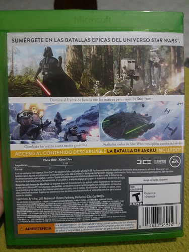 star wars battle front xbox one juego fisico/cd