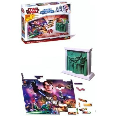 star wars - clone wars puzzle + escultura - 100 peças