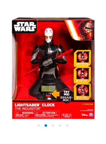 star wars inquisitor reloj con alarma luz y sonido de sable