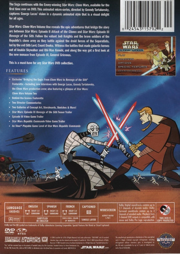 star wars the clone wars volumen 1 y 2 dvd