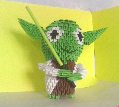 star wars yoda de origami en 3d