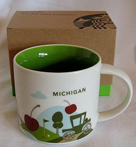starbucks taza estás aquí colección, michigan, 14 oz