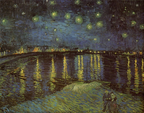 starry night over the rhone vincent van gogh repro na tela