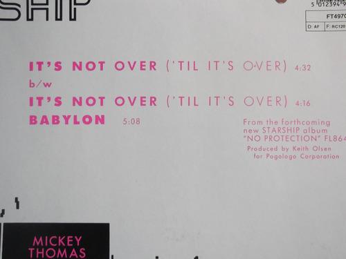 starship - it´s not over (`til´s over) - 3 tracks - germany