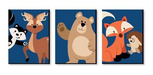stay wild - juego de 3 impresiones de animales de bosque