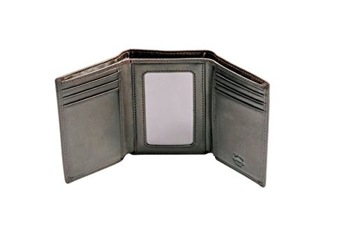 stealth mode trifold rfid blocking cartera de cuero marrón p