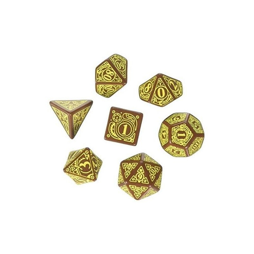 steampunk dice brown / yellow (7 stk.) juego de mesa