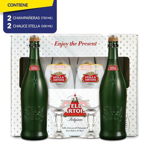 stella artois edición especial 750ml c/u + 2 chalices