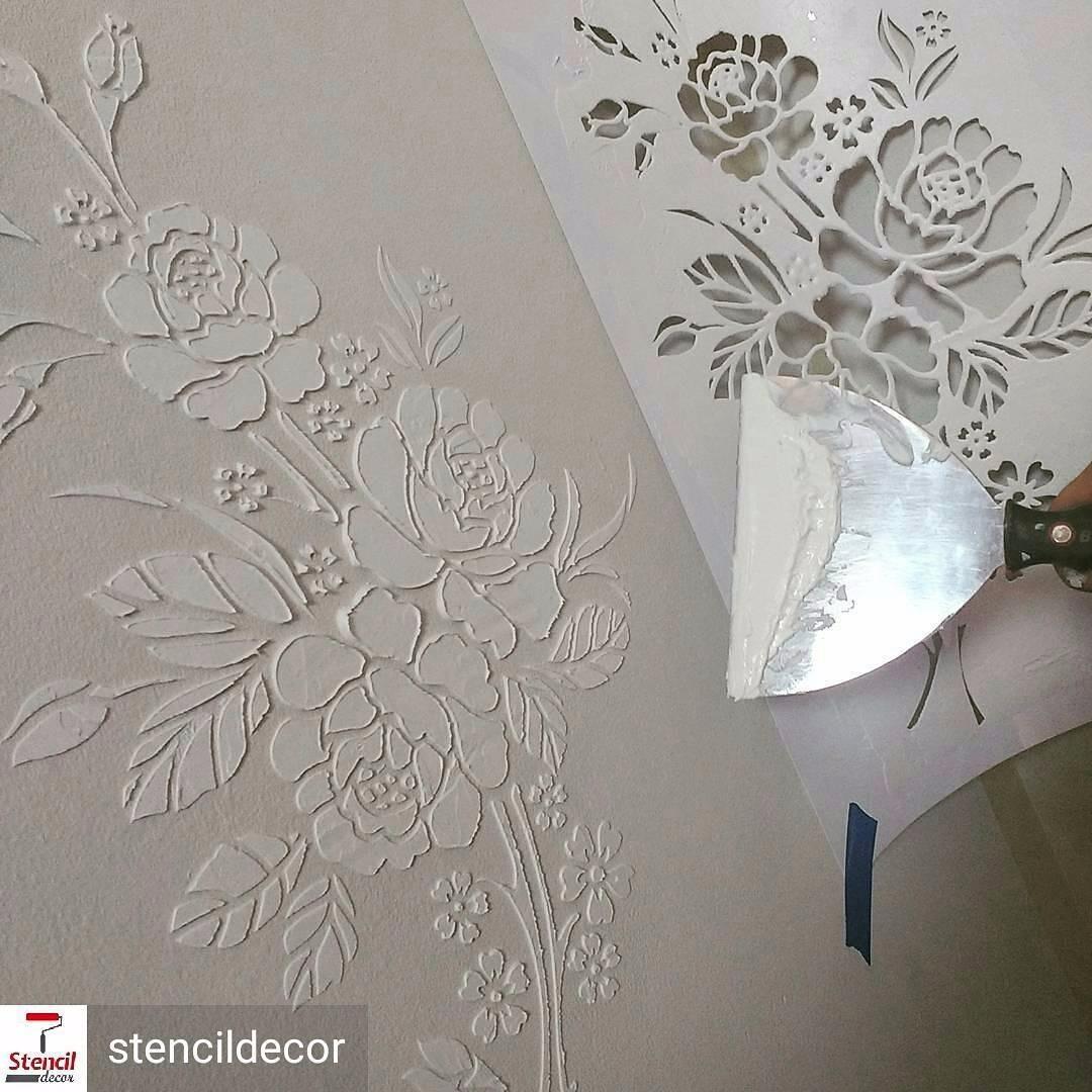 Stencil decor de parede est ncil molde pintura layla r 79 00 em mercado livre - Plantillas pared ...