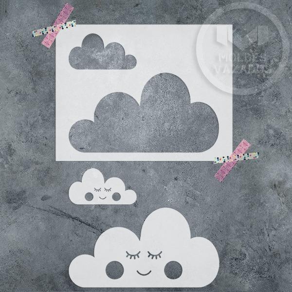 Stencil Decorativo Molde Vazado Pintura Em Parede Nuvens R 2900