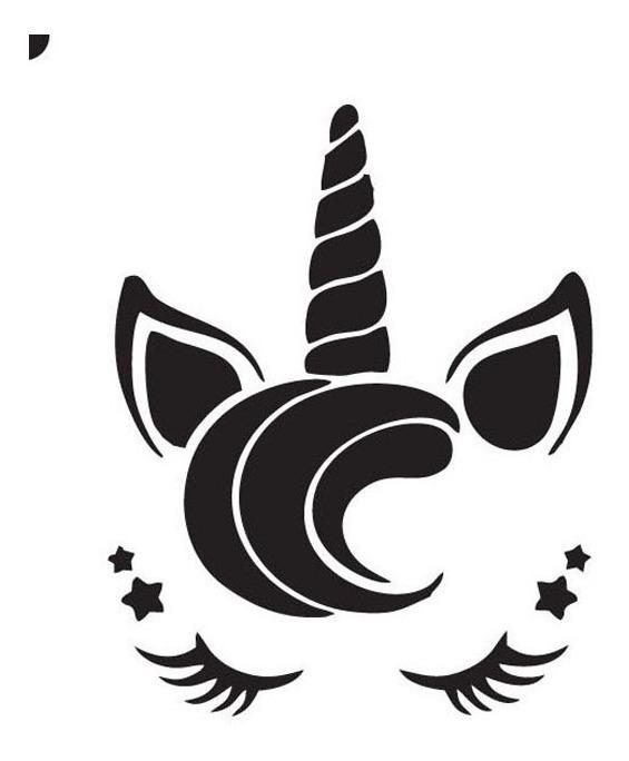 Stencil Fadas Borboletas Unicornio Pintura Facial 5cm 6 Pcs R