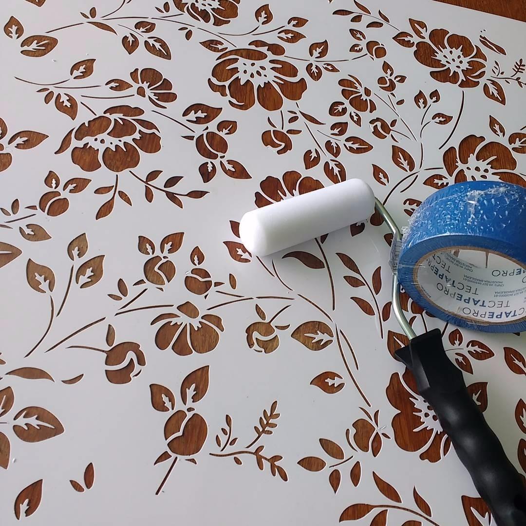 Stencil Flores Do Campo 55x55 Cm Estencil Para Pintura R 185 00