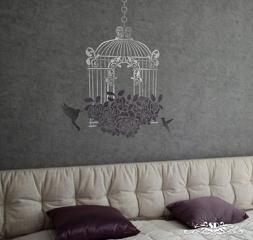 stencil jaulita vintage plantilla decorativa para pintar