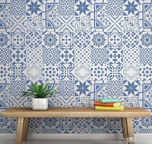 stencil mosaicos v plantilla decorativa reusable para pintar