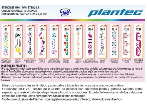 stencil plantec mini 42x175mm ideal para guardas letrografos