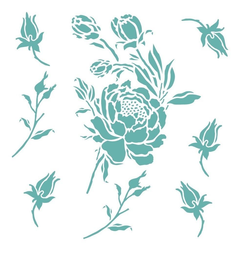 Stencil Rosas B Plantilla Reusable Para Pintar Manualidades