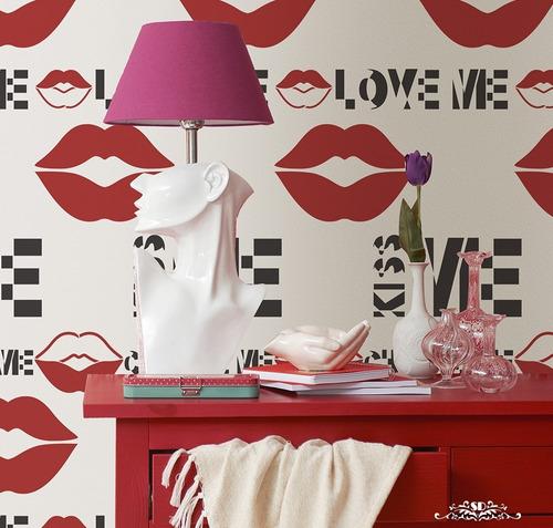 stencil super lips plantilla decorativa reusable para pintar