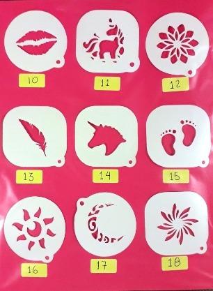 stenciles para pinta caritas distintos diseños a escoger.