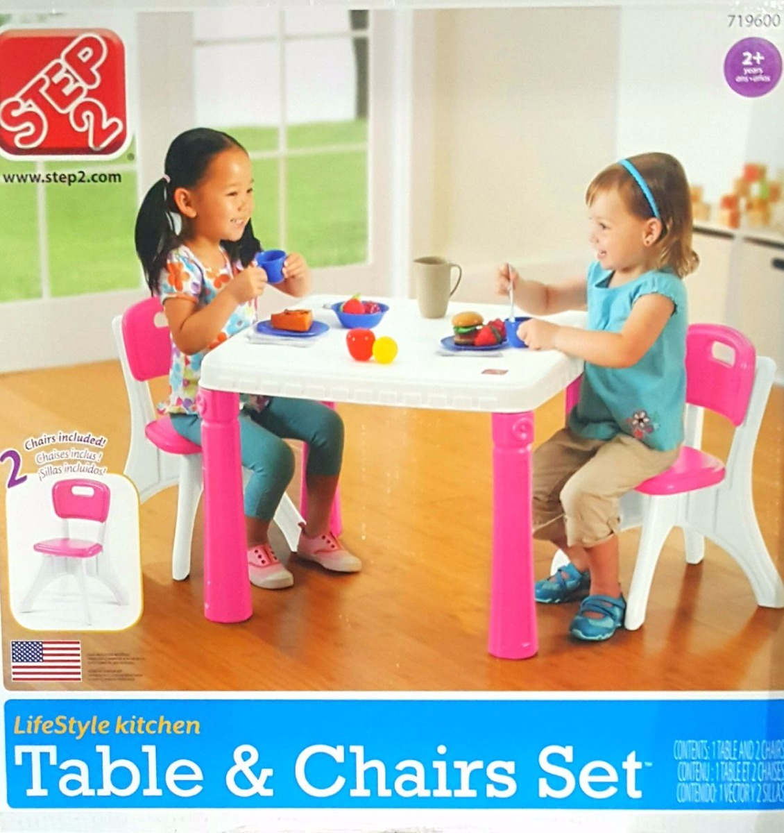 Pink 9 Step9 LifeStyle Kitchen Table and Chairs Set Furniture ...