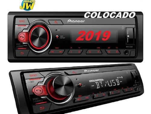 stereo pioneer mvh 215 bluetooth usb aux nuevo 295 colocado
