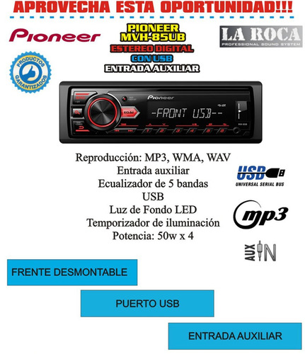 stereo pioneer mvh85ub usb mp3 50 x 4 descuento cyber monday